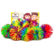 Colourful Monkey Stringy Balls 5.1cm Set of 5 Bundle Gift Box Stress Relief Relax Fidget Play Squeeze Soft Pom Sensory Toy for Kids Children Adults Office Home or Party by Kipi Toys