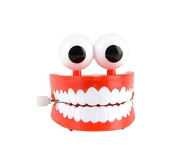 7.6cm Jumbo Chattering Teeth with Eyes Classic Wind up Office Toy Denture
