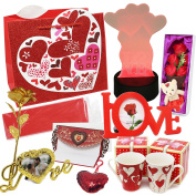 Joyin Toy Deluxe Valentine's Day Gift Set with LED Decor, 2 Valentine Mugs, Heart Shape Key Chain, Fabric Rose, Mini Bear, Gold Foil Rose, Love Letter, Photo Frames, Gift Bag, Red Tissue Paper