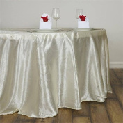 Efavormart 300cm Ivory Seamless Round Satin Tablecloth Embossed Lily Round Wedding Party Banquet Tablecovers