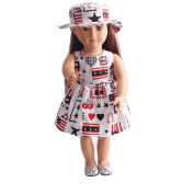CYCTECH Cartoon Doll Clothes Set Cute Skirt & Hat Outfits Suit Fits 46cm Generation American Girl Dolls