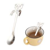 Oksale Stainless Steel Coffee Spoon Creative Cat Bear Spoon Long Handle Spoons Lovely Spoon