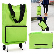 Tle - Kitchen Tools & Gadgets - Green Shopping Trolley Tote Bag Foldable Cart Rolling Grocery Wheels Kitchen Food Holder Carryall Tramcar Bag Rolling Peal - 1PCs