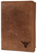 KRYPT 'Taylor the Tall' RFID-blocking genuine buffalo leather wallet in vintage style - RusticBrown
