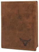 KRYPT 'Trevor the Brave' RFID-blocking genuine buffalo leather wallet in vintage style - RusticBrown