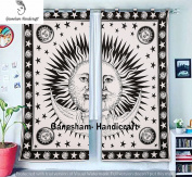 Sun & Moon Boho Living Room Curtains, Balcony Sheer Room Divider & Darkening Shower Curtains, Hippie Dorm Decor Window Treatments & Valances Drapes Handmade Door Curtain 2 Panel Set Mandala Curtain