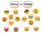 144 2 temporary emoji tattoos - 16 assorted emoticon styles - fun gift, party favours, party toys, goody bag favours