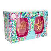 Lilly Pulitzer Stemless Wine Glass Set - Catch The Wave