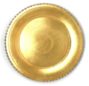 Elegant Weaving Gold Pressed Beaded Rim Design Round Charger Plates Dinnerware Holiday Decor Accent Plates Gold Pressed Finish 33cm
