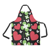 Artsadd Adjustable Apron with Pocket St Patricks Day Pattern With Red Heart And Green Clover All Over Print Apron