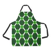 Artsadd Adjustable Apron with Pocket St Patricks Day Four Leaves Green Clover Sprig All Over Print Apron