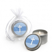 Delicate Blue Cross - Baptism Candle Tin Party Favours