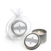 Delicate Blessings Cross - Baptism Candle Tin Party Favours