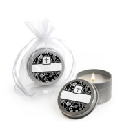 Modern Floral Black & White Cross - Baptism Candle Tin Party Favours
