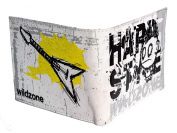 Leather Wallet Man wildzone Hard Style Punk and Guitar (11 x 9) Grey with Black details and yellow.