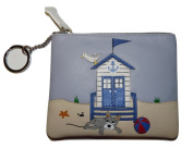 Luxury Beau dog on beach RFID LEATHER coin purse by Mala Leather holiday theme