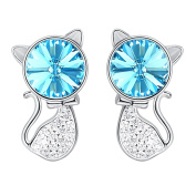 Hanana 925 Sterling Silver Cat Stud Earrings for Grils / Women with Sparkling Blue Crystal from ,Fashion Jewellery with Box