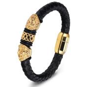 IzuBizu London Leather Lion Head Bracelet 18CT Gold Plated Unisex Fashion Bangle - Free Gift Box