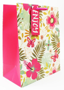 Large Gift Carrier Bag For Ladies Pink Exotic Floral Birthday Get Well Present