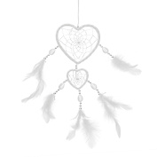 iiniim Handmade Delicate Traditional Heart-shaped Dream Catcher Net with Feathers Wall/Car Hanging Home Decoration Ornament Gift White One Size
