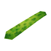 ALAZA Double-Sided Printing St Patricks Day Striped Shamrocks Green Table Runner 33cm x 230cm Long Table Top Home Decor