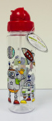 Glitter Robot Water Bottle & Straw