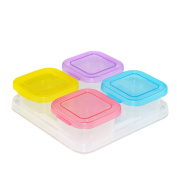 Zhuhaixmy Set of 4 Baby Food Containers Boxes Freezer Storage Pots Homemade Fruit Snack Cups