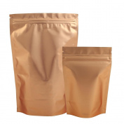 Ziplock Grip Bags Stand Up Pouch Golden Front & Back Silver Inside - 12x20CM