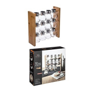 12 Jar Spice Rack with Bamboo Stand – 28.9x9x28.9 cm.