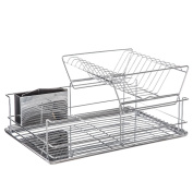 2 tier dish drainer with removable plate- practical and easy upkeep- STAINLESS STEEL