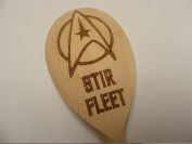 STAR TREK STIR FLEET INSPIRED WOODEN BAKING SPOON WOOD KITCHEN COOKING BIRTHDAY PRESENT GIFT STAR FLEET TREKKIE FAN LASER ENGRAVED