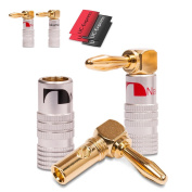4x Nakamichi Banana Plugs Gold Plated Angled High End 24 K Cable up to 6 mm² Shrinkable Tubing Red/Black from UC EXPRESS