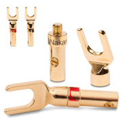 4x Nakamichi High End Spade Terminals For Cable Up To 6 mm² 24 Carat Gold Plated