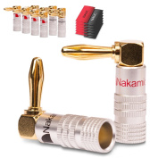 12x Nakamichi Banana Plugs Gold Plated Angle High End 24 K Cable up to 6 mm² 12 x Heat Shrink Tube Nauc