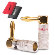 2 x Nakamichi Banana Plugs Gold Plated Angle High End 24 K Cable up to 6 mm² 2 x Heat Shrink Tube Nauc
