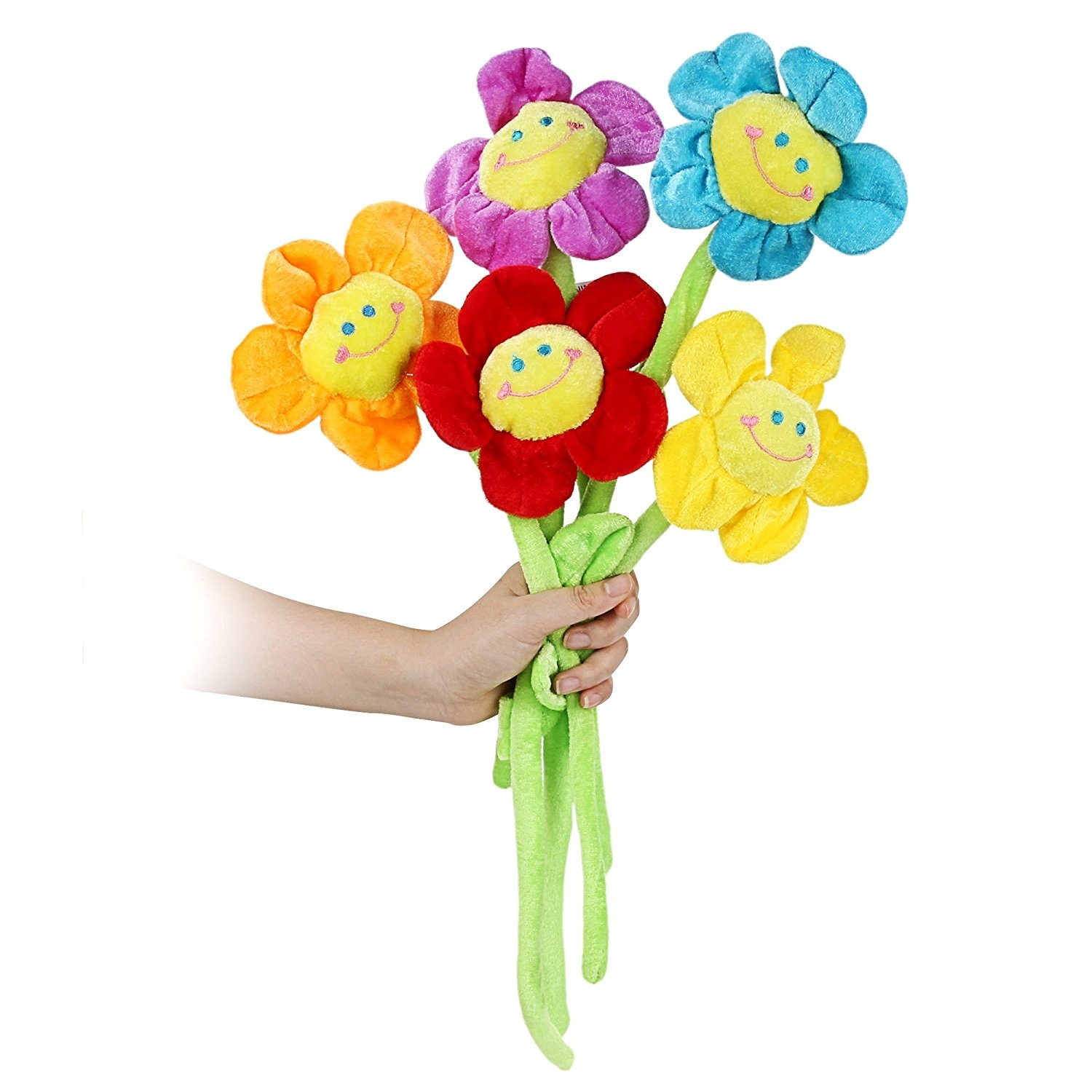 Plush Daisy Flower With Smiley Happy Faces Colorful Soft Bendable