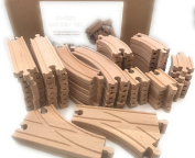 Wooden Train Track Set 64 Piece Pack - 100% Compatible with All Major Brands including Thomas, Brio, Chuggington, And Other Major Brands