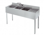 Stainless Steel Three Compartment Under Bar Sink with Right Drainboard 48 x 18.5