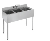 Stainless Steel Three Compartment Under Bar Sink 36 x 18.5