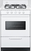 WTM6107SW 24 Gas Range with 4 Sealed Burners 0.08cbm Oven Capacity Broiler Compartment Porcelain Construction Electronic Ignition and Oven Viewing Window in White