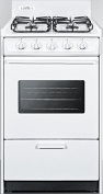 WTM1107SW 20 Gas Range with 4 Sealed Burners 0.07cbm Oven Capacity Porcelain Construction Electronic Ignition 2 Oven Racks and Oven Viewing Window in White