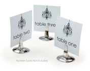 Set of 50, Table Number Holders for Wedding Venues and Restaurants, Place Card Stands with 5.7cm diameter Round Base and Upright Clip - Stainless Steel