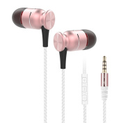 Wired Headphones - Mengshen Noise Isolating Earbuds In-ear Headsets for iOS / Android / iPhone / Smartphones / iPad / Tablets / Laptop / Mac / Computer / MP3 & MP4 Players, EK5 Rose Gold