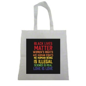 Black Lives Matter Women's Rights are Human Rights Brights Halloween Trick Or Treat Polyester White Tote Bag 15x16x 3.5