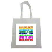 Black Lives Matter Women's Rights are Human Rights Halloween Trick Or Treat Polyester White Tote Bag 15x16x 3.5