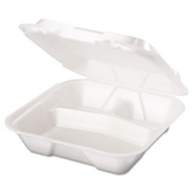 GNPSN203 Snap-It Foam Hinged Container, 3-Compartment, 9-1/4x9-1/4x3, White, 100/Bag