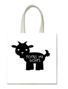 Totes Ma Goats Goat Black Halloween Trick Or Treat Polyester White Tote Bag 15x16x 3.5