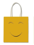 Cute Yellow Smiley Face Halloween Trick Or Treat Polyester White Tote Bag 15x16x 3.5