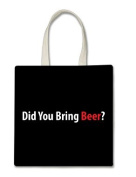 Did You Bring Beer. Halloween Trick Or Treat Polyester White Tote Bag 15x16x 3.5