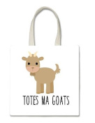 Totes Ma Goats Goat Halloween Trick Or Treat Polyester White Tote Bag 15x16x 3.5